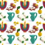 Nahtloses handgemachtes Plasticinemuster Chanukkas Bunte Beschaffenheit des Modelliertons Getrennt auf weißem Hintergrund Stockbild