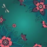 Nahtloses helles Blumenmuster mit rosa Blumen Abbildung Stockfoto