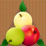 Nahtloses helles Muster mit köstlichen Äpfeln Lizenzfreie Stockbilder