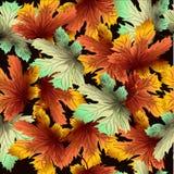 Nahtloses Herbstmuster auf schwarzem Hintergrund Stockfoto