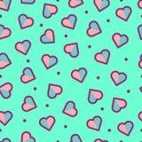 Nahtloses Herz-Muster, nett und bunt lizenzfreies stockfoto