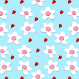 Nahtloses Herz und Blume auf blauem Hintergrund Lizenzfreie Stockfotos