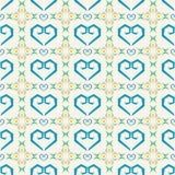 Nahtloses Herzvektormuster mit Gitter auf weißem Hintergrund Stockfotografie