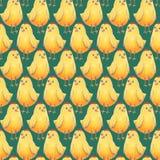 Nahtloses Hintergrund Ostern-Muster mit netten kleinen gelben Hühnern auf einem grün-blauen Gewebe, Geschenkpackpapier Lizenzfreie Stockbilder