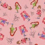 Nahtloses Hintergrundmädchen in der Liebe mit Herzen vom Packpapier Lizenzfreies Stockfoto