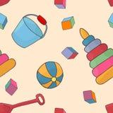 Nahtloses Hintergrundmuster der Spielwaren der Kinder Kindheitsvektor Stockfotografie