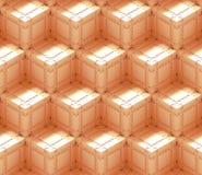 Nahtloses Hintergrundmuster der Zusammenfassung 3d gemacht von einer Reihe Technologiewürfeln in weißem und in Orange Stockbilder