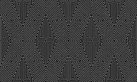 Nahtloses Hintergrundmuster des Schwarzweiss-Labyrinths Vektor EPS8 Lizenzfreies Stockfoto