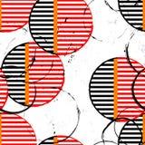 Nahtloses Hintergrundmuster, mit Kreisen, Streifen, Farbenanschlag Stockbild