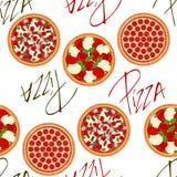 Nahtloses Hintergrundmuster mit Pizzas Stockbild