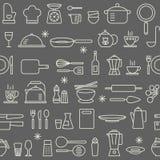 Nahtloses Hintergrundmuster, welches die Küchengerätikonen eingestellt kocht Lizenzfreie Stockfotos