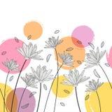 Nahtloses horizontales mit Blumenmuster des Vektors Schwarzweiss--backg Stockfotografie