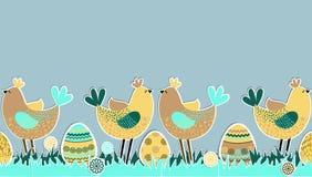 Nahtloses horizontales Muster mit Vögeln und Eiern Stockfotos