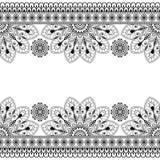 Nahtloses Inder Mehndi-Muster mit Blumengrenzelementen für Karte und Tätowierung auf weißem Hintergrund Stockbild