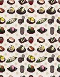 Nahtloses japanisches Nahrungsmittelmuster Stockfotografie