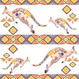 Nahtloses Kängurumuster gemacht von den Blumen, Blätter Lizenzfreies Stockfoto