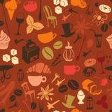Nahtloses Kaffeemuster mit Latte, Cappuccino, Torten, Donuts, Stockbilder