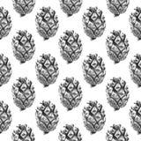 Nahtloses Kiefern-Kegel-Muster Stockfoto