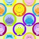 Nahtloses Kindermuster mit Flusspferdvektorillustration Stockbild