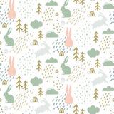 Nahtloses kindisches Muster mit nettem Häschenschattenbild im Wald Stockbilder