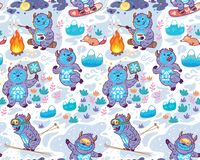 Nahtloses kindisches Muster mit netten Monstern, Yeti lizenzfreie stockbilder