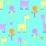 Nahtloses kindliches Muster der netten Giraffe Stockfotografie