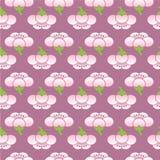 Nahtloses Kirschblüte-Blumenmuster Japanische Verzierung Weiße Blumen auf einem violetten Hintergrund stock abbildung