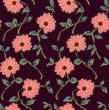 Nahtloses klassisches Blumenmuster mit marun Hintergrund lizenzfreie abbildung