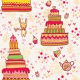Nahtloses Kuchenmuster mit Kaninchen stock abbildung