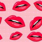 Nahtloses Lippenmuster über Rosa Stockfoto