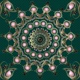 Nahtloses Mandalamuster Weinlese-Paisleys Schnüren Sie sich dekorativen grünen Hintergrund Orientalische Verzierung der Blumenara lizenzfreie abbildung