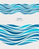 Nahtloses Marinemuster mit stilisiertem Blau bewegt auf einen hellen Hintergrund wellenartig stock abbildung