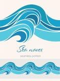 Nahtloses Marinemuster mit stilisierten Wellen auf einem hellen backgroun Stockfoto