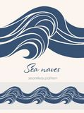 Nahtloses Marinemuster mit stilisierten Wellen auf einem hellen backgroun Stockfotos
