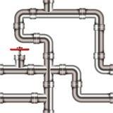 Nahtloses metallisches Rohrmuster lokalisiert auf Weiß Stockbilder