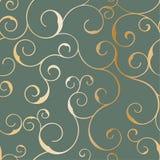 Nahtloses metallisches swirly Muster, Vektorhintergrund Stockfotografie