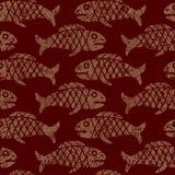 Nahtloses mexikanisches Muster mit Fischen Stockbild
