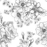 Nahtloses mit Blumenmuster Blumenblumenstraußhintergrund Lizenzfreies Stockfoto