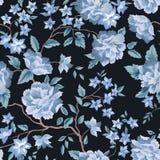 Nahtloses mit Blumenmuster Blumenrosenschwarzhintergrund flourish Lizenzfreies Stockbild