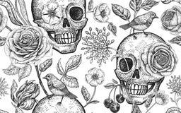 Nahtloses mit Blumenmuster mit den Symbolen des Tages tot Schädel, blühend stiegen Blumen und Vögel stock abbildung
