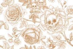 Nahtloses mit Blumenmuster mit den Symbolen des Tages tot Schädel, bloomi vektor abbildung