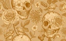 Nahtloses mit Blumenmuster mit den Symbolen des Tages tot Schädel, stiegen f lizenzfreie abbildung