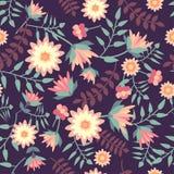 Nahtloses mit Blumenmuster in der flachen Art stockbild