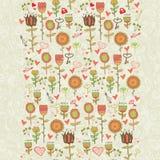 Nahtloses mit Blumenmuster der Karikatur Lizenzfreies Stockbild