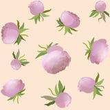 Nahtloses mit Blumenmuster der Vektorpfingstrose Rosa nette Blumenillustration Lizenzfreie Stockfotos