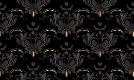 Nahtloses mit Blumenmuster der Weinlese des dunklen Schwarzen Vektordamast backgr lizenzfreie abbildung