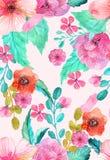 Nahtloses mit Blumenmuster des Aquarells Lizenzfreie Stockfotografie