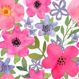 Nahtloses mit Blumenmuster des Aquarells mit bunter lokalisierter Hand d Stockbild