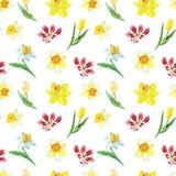 Nahtloses mit Blumenmuster des Aquarells mit gelber Narzisse und Tulpen auf weißem Hintergrund Heller botanischer Druck vektor abbildung