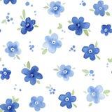 Nahtloses mit Blumenmuster des Aquarells Vergissmeinnichte auf dunkelgrünem Lizenzfreie Stockfotografie